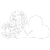 Laser Expressions Double Heart Filigree Die Cut Card Shimmer Paper - Ivory