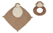 Super Soft Security Blanket with Matching Rattle Baby Gift Set : Brown Monkey