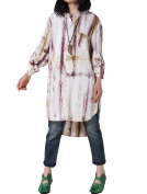 Vogstyle Women's Linen Full Front Buttons Loose Blouse With Pockets