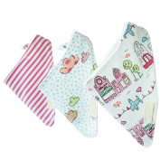 Sanwood 3Pcs Baby Boys Girls Bibs Bandana Triangle Saliva Towel