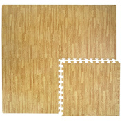 EVA foam Puzzle Mat by eyepower | 4pcs 60x60cm endlessly expandable + frame | interlocking jigsaw soft carpet for walking barefoot lie down fitness sport yoga judo kids playground decoration muffle noise thermal insulator | Light brown wooden colour