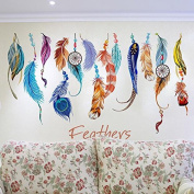 Yuver(TM) Classic Creative Dream Catcher Feather Wall Sticker Art Decal Mural PVC Sticker