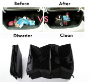 CooCoo4U Waterproof Foldable Black Car Boot Organiser Storage Bag Protable Auto Storage Box Multi-use Tools Organiser