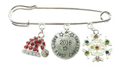 Baby's First Christmas 2016 Nappy Safety Pin Keepsake Charms with Rhinestone Christmas Hat & Rhinestone Snowflake Charm comes in a Christmas Organza Gift Bag