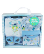 Honey Bunny Newborn Bear Gift Set Five Piece Cotton Baby Boys Blue Set in Box