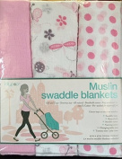 Butterflies & Ladybugs, Polkadots & Pink 3 Pack Muslin Swaddle Blankets from Lollypop