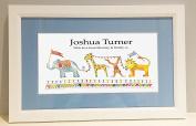 Jungle Parade White Framed Name Picture, Baby Gift, Christening Gift, blue mount/white frame