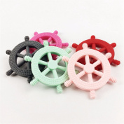 Baby Sensory Tool Ship Helm Shaped Silicone Pendant Baby Teether 5pc Chewable Beads Charms Breakaway Clasp Toddler Toys