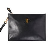 Safelake Jet Black Pouch Bag Slim Envelope Ipad Sleeve Carry-All Wristlets Clutch Genuine Leather