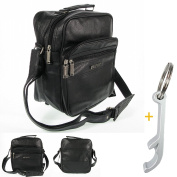 Men's Bag Black Travel Companion # 6657 Synthetic Leather Bag Street Shoulder Bag