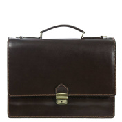 Leather Briefcase / Laptop bag Bologna Brown