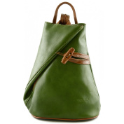 Made In Italy Leather Backpack For Women With Zipped Straps Colour Green Tuscan Leather - Backpack