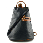 Made In Italy Leather Backpack For Women With Zipped Straps Colour Blue Cognac Tuscan Leather - Backpack