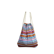 Zhuhaixmy Girl Vintage Retro Geometric Printing Backpacks Canvas Drawstring Ethnic Bag #01