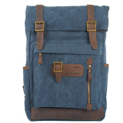 MatchLife Women's New Vintage Canvas Leather Double Shoulder BackPack Bag Style6 Blue