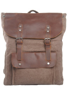MatchLife Women's New Vintage Canvas Leather Double Shoulder BackPack Bag Style2 Coffee