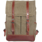 MatchLife Women's New Vintage Canvas Leather Double Shoulder BackPack Bag Style5 Army Green