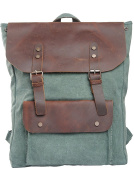 MatchLife Women's New Vintage Canvas Leather Double Shoulder BackPack Bag Style2 Green