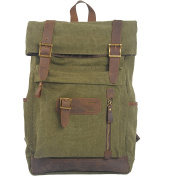 MatchLife Women's New Vintage Canvas Leather Double Shoulder BackPack Bag Style6 Green
