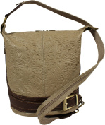 Attractive practical leather brown ladies handbag Adele Stampa Taupe over the shoulder