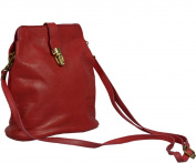 Attractive practical leather red handbag Piazza Rossa Scura over the shoulder