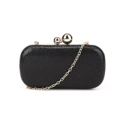 Black Double Orb Glitter Clutch Party Prom Bridal Wedding Evening