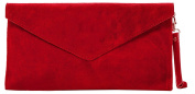 Real Italian Suede Leather Envelope Clutch Bag