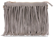 UKFS Designer Soft Faux Leather Tassel Ladies Clutch Evening Bridal Handbag