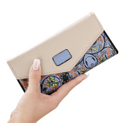 Japace® Women's Long Clutch Leather Purse Handy Bag Envelope Clasping Purse Handbag Card Holder Wallet Handbag with Small Floral Decor --- Blue