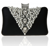 SCIONE Evening Bags for Women with Pearls and Crystals Large Purse and Clutch for Weddings Party