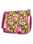 Floral Cross Body Canvas Bag Pink & Black - Women crossbody cotton fabric shoulder bags - Ladies