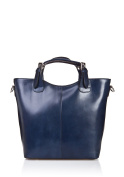Laura Moretti - Leather handbag with exterior pocket and sewing