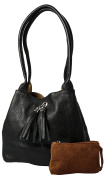 Real Leather Reversible Medium Slouch Shoulder Bag with Tassel