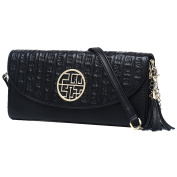 Women Fashion Tassel Chinese Calligraphy Embossed Leather Clutch Wristlet Crossbody Shoulder Bag