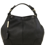 Tuscany Leather Ambrosia - Soft leather bag with shoulder strap Black Leather handbags