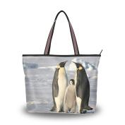 JSTEL Extra Large Handbags for Women,Blue Penguin Family,Fashion Design Ladies Shoulder Tote Bag