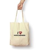 I Love My White Shepherd - Canvas Tote Bag