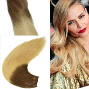 Straight 100g Ombre Hair Extensions Two Tone Colour Brown to Blonde 100% Real Virgin Human Hair Weave