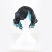 30CM New Charming Short Curly Lolita Black Blue Anime Cosplay Wigs Christmas Party Hair Natural Looking Soft Touch Parties Daily Use