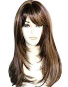 Kalyss Women's Wig Long Straight Mix Brown Blond Highlights Hair Wigs 60cm