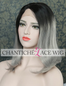Chantiche Synthetic Hair Short Bob Wigs for Women Ombre Black Roots to Grey Lace Front Wig uk Half Hand Tied Heat Resistant Fibre