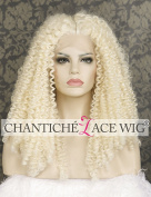 Chantiche White Blonde Kinky Curly Wigs for Women Natural Looking Long Synthetic Hair Lace Front Wig with Middle Parting Heat Resistant Fibre Half Hand Tied 60cm