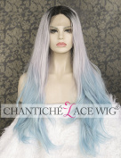 Chantiche Black Roots Synthetic Hair Wig Grey Ombre Light Blue Best Cosplay Straight Lace Front Wigs for Women Long Natural Looking Soft Wearing Silky Hair Replacement 60cm