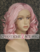 Chantiche Short Wavy Pink Wigs for White Women Baby Pink Synthetic Lace Front Wig with Parting Half Hand Tied Heat Resistant Fibre