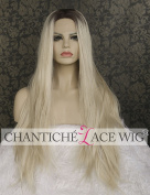 Chantiche Dark Roots Ombre White Blonde Wigs for Women Natural Looking High Quality Synthetic Hair Straight Lace Front Wig for Women Half Hand Tied Heat resistant Fibre 60cm