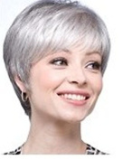 High Quality Charming Synthetic Beauty Short Straight Fashion Layered Bob Grey Wigs for Women Natural As Real Hair for Party/Fancy Dress/Dating