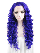 Sotica Long Afro Kinky Curly Blue Synthetic Lace Front Wig Heavy Density Big Wvy Heat Resistant Hair Wigs