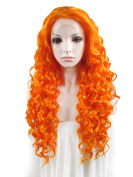 Sotica Long Deep Curly Orange Lace Front Wig for Women Big Wavy Heat Resistant Fibre Hair Wigs