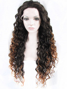 Sotica Heavy Density Black and Brown Deep Curly Lace Front Wig for Women