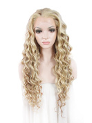 Sotica Long Deep Curly Lace Front Wig for Women Big Wavy Heat Resistant Fibre Hair Wigs